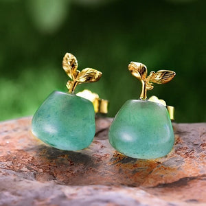 Handmade Sterling Silver Sprouting Plant Stud Earrings - Natural Aventurine - Tafani's