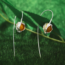 Load image into Gallery viewer, Handmade Sterling Silver Physalis Fruits Drop Earrings - Topaz