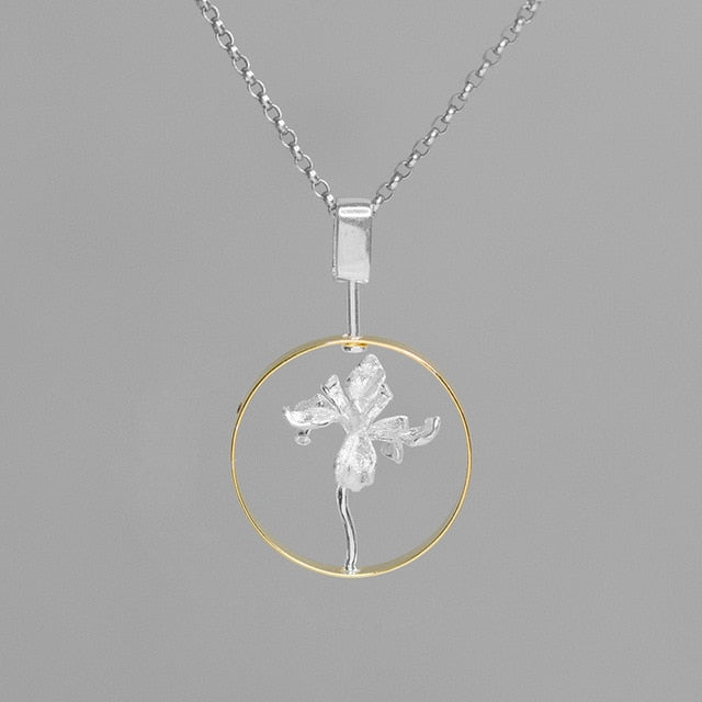 Handmade Iris Flower Pendant Necklace - Sterling Silver