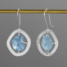 Load image into Gallery viewer, Sterling Silver Drop Earrings - Aquamarine