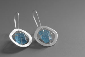 Sterling Silver Drop Earrings - Aquamarine - Tafani's