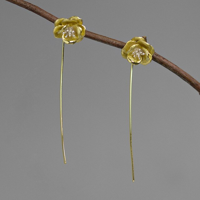 Handmade Camellia Flower Drop Earrings - Sterling Silver