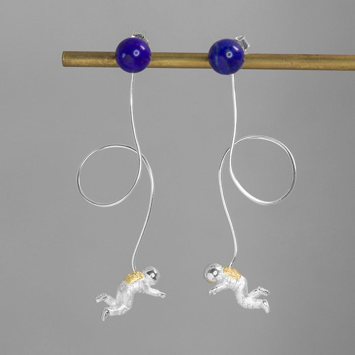 Handmade Astronaut Drop Earrings - Lapis