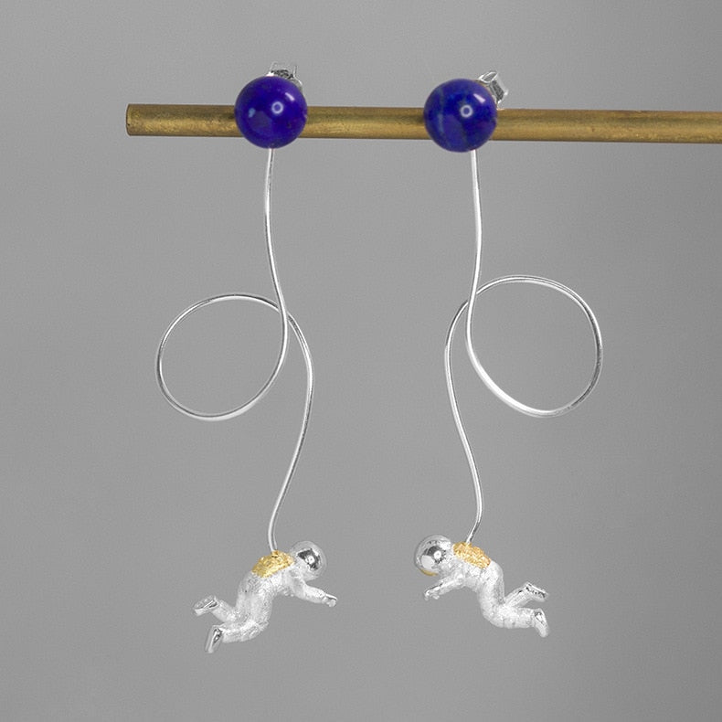 Handmade Astronaut Drop Earrings - Lapis - Tafani's