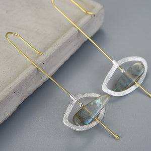 Handmade Sterling Silver Drop Earrings - Natural Labradorite - Tafani's
