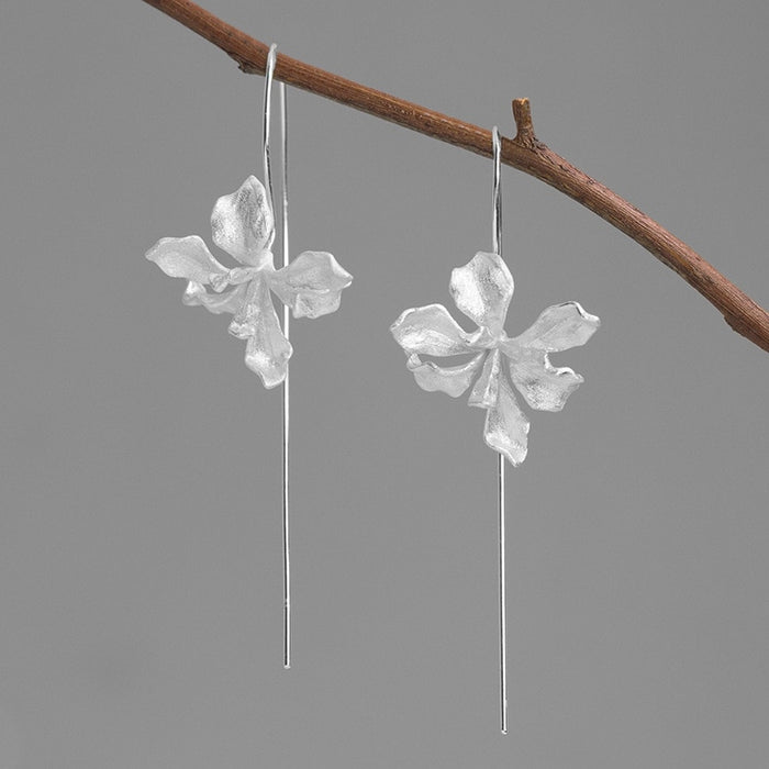 Handmade Iris Flower Drop Earrings - Sterling Silver