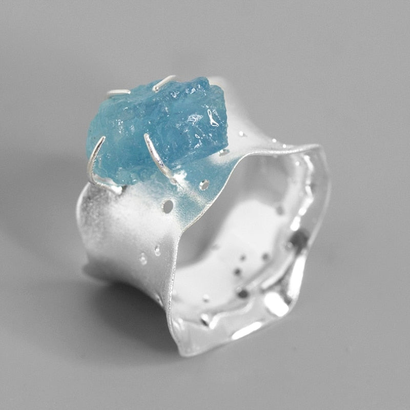 Sterling Silver Ring - Aquamarine - Tafani's