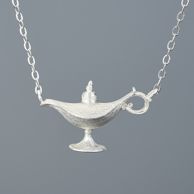 Handmade Aladdin's Lamp Necklace - Sterling Silver - Tafani's
