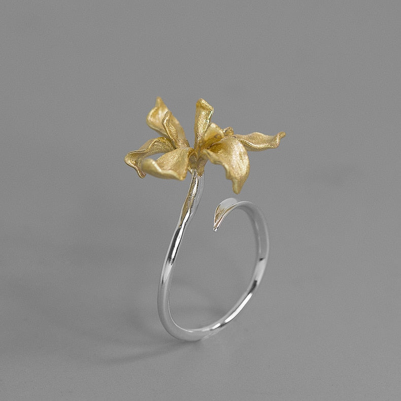 Handmade Iris Flower Ring - Sterling Silver