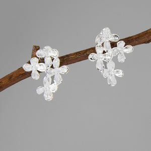 Handmade Flower Stud Earrings - Sterling Silver