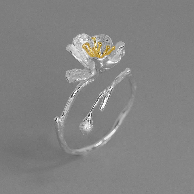 Handmade Flower Ring - Sterling