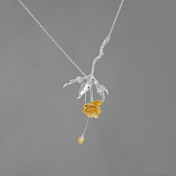Handmade Flower Necklace - Sterling Silver - Tafani's