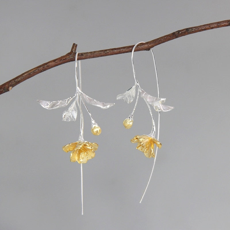 Handmade Flower Drop Earrings - Sterling Silver