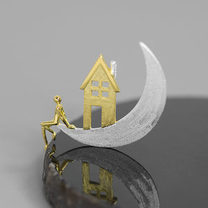 Handmade House on the Moon Brooch - Sterling Silver - Tafani's