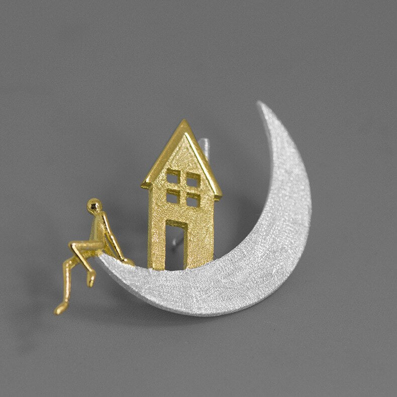 Handmade House on the Moon Brooch - Sterling Silver