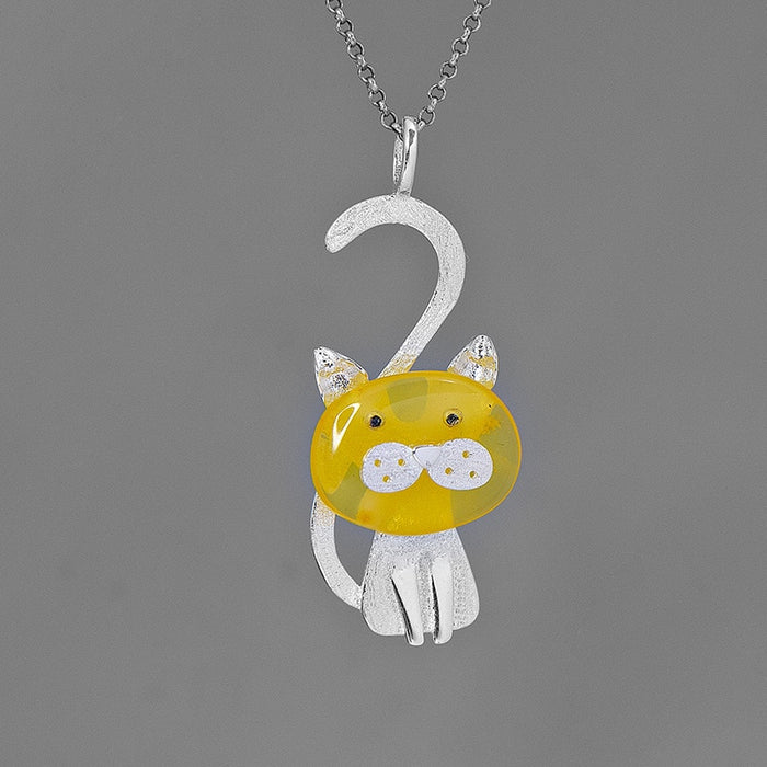 Sterling Silver Kitty Cat Pendant - Amber