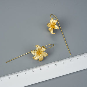 Handmade Lily Flower Drop Earrings - Sterling Silver - Tafani's