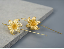 Load image into Gallery viewer, Handmade Lily Flower Drop Earrings - Sterling Silver