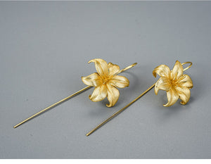 Handmade Lily Flower Drop Earrings - Sterling Silver