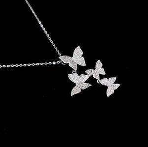 Sterling Silver Butterfly Pendant Necklace - Zircons - Tafani's