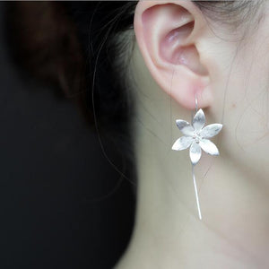 Sterling Silver Flower Drop Earrings - Tafani's