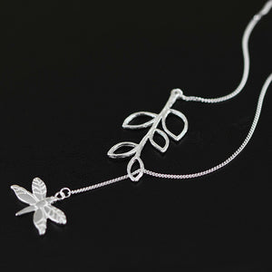 Sterling Silver Dragonfly Plant Necklace - Tafani's