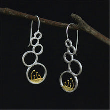 Load image into Gallery viewer, Sterling Silver Plants in Circles Drop Earrings - Handmade - Tafani's