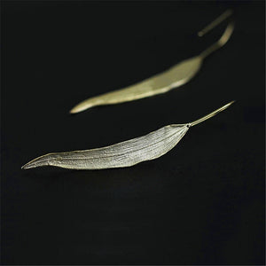 Handmade Sterling Silver Long Leaf Drop Earrings - Gold Plated - Tafani's