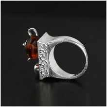 Load image into Gallery viewer, Handmade Sterling Silver Teapot Ring Natural Amber - Tafani's