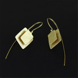 Sterling Silver Square Drop Earrings - Handmade - Tafani's