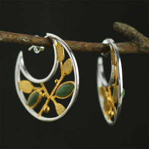Handmade Sterling Silver Plant Hoop Earrings - Natural Aventurine - Tafani's