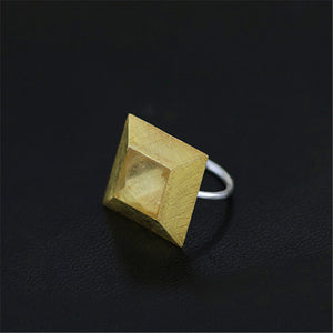 Handmade Sterling Silver Pyramid Ring - Natural Quartz - Tafani's