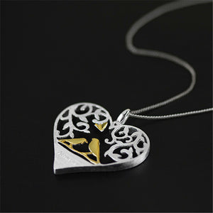 Sterling Silver Forever Lovers Birds Heart Pendant - Tafani's