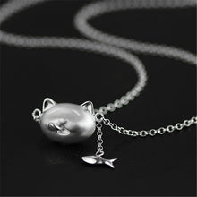 Load image into Gallery viewer, Sterling Silver Cat & Fish Necklace - Handmade - Tafani's