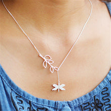 Load image into Gallery viewer, Sterling Silver Dragonfly Plant Necklace - Tafani's