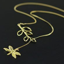 Load image into Gallery viewer, Sterling Silver Dragonfly and Plant Necklace - Tafani's
