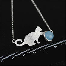 Load image into Gallery viewer, Handmade Sterling Silver Cat Bracelet - Natural Aquamarine - Tafani's