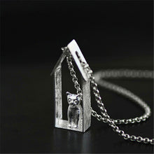 Load image into Gallery viewer, Sterling Silver Cat House Pendant - Handmade - Tafani's