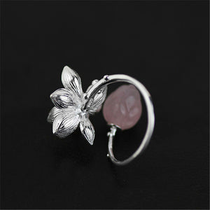 Sterling Silver Lotus Flower Natural Quartz Handmade Ring - Tafani's