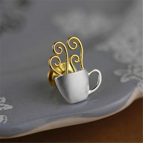Sterling Silver Cup of Coffee Brooch - Handmade - Tafani's