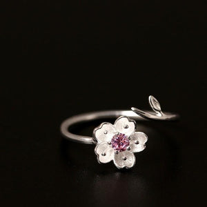Sterling Silver Flower Ring - Zircon - Tafani's