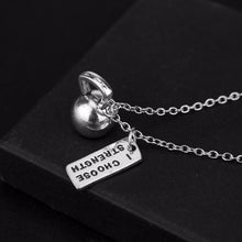 Load image into Gallery viewer, I CHOOSE STRENGTH Kettlebell Pendant Necklace - Tafani's