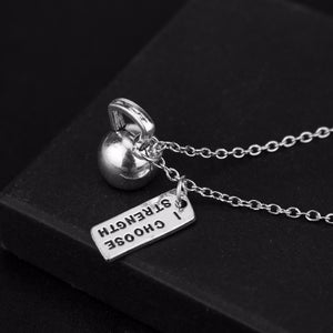 I CHOOSE STRENGTH Kettlebell Pendant Necklace - Tafani's