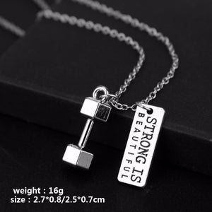 STRONG IS BEAUTIFUL Dumbbell Pendant Necklace - Tafani's