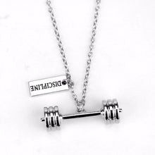 Load image into Gallery viewer, DISCIPLINE Barbell Pendant Necklace - Tafani's