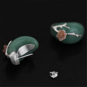Handmade Plum Flower Sterling Silver Stud Earrings - Natural Aventurine - Tafani's
