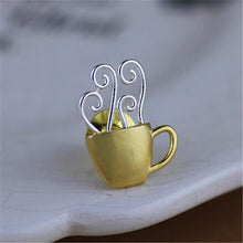 Load image into Gallery viewer, Coffee Cup Brooch Sterling Silver - Handmade - Tafani's