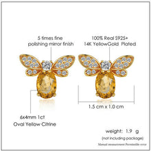 Load image into Gallery viewer, Sterling Silver Bee Stud Earrings - Natural Citrine, Peridot - Tafani's