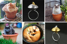 Load image into Gallery viewer, Sterling Silver Cat Ring - Handmade - Tafani's