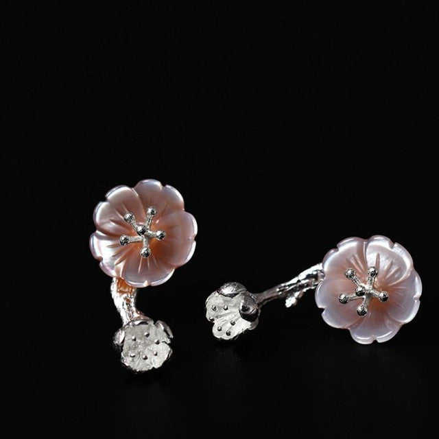 Handmade Sterling Silver Flower Stud Earrings - 2 in 1 - Tafani's